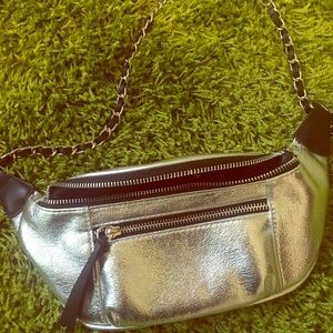 Express silver fanny pack bag